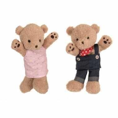 2x pluche bruine beren handpoppen knuffels 24 en 26 cm speelgoed