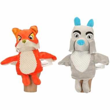 2x pluche fabeltjeskrant handpoppen knuffels lowieke de vos en bor de wolf 25 cm speelgoed