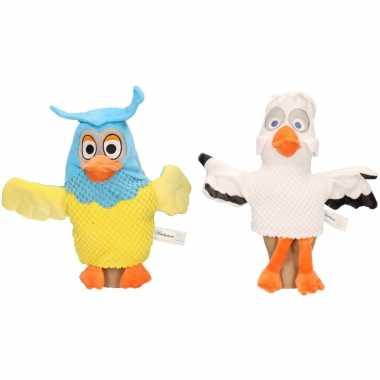 2x pluche fabeltjeskrant handpoppen knuffels meneer de uil en juffrouw ooievaar 25 cm speelgoed