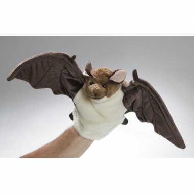 Bruin/witte handpop vleermuis pluche 36 cm