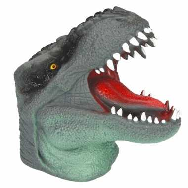 Dino world latex handpop groen 14 cm
