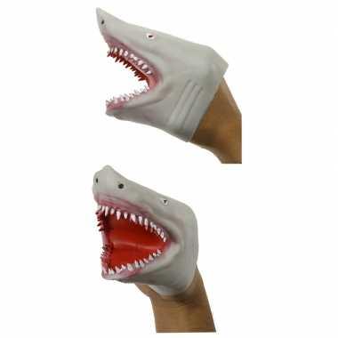 Grijze haaien handpop 15 cm