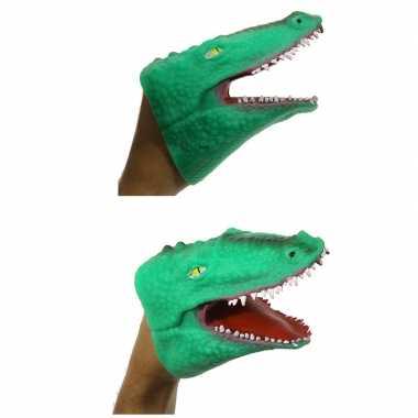 Groene krokodil handpop 15 cm