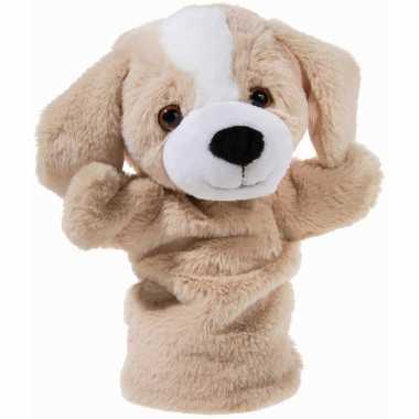 Pluche beige hond handpop knuffel 25 cm speelgoed
