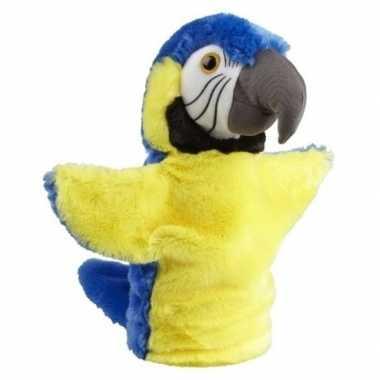 Pluche blauw/gele ara papegaai handpop knuffel 26 cm