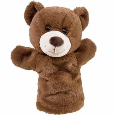 Pluche bruine beer/beren handpop knuffel 25 cm speelgoed