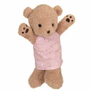 Pluche bruine beer handpop knuffel 24 cm speelgoed