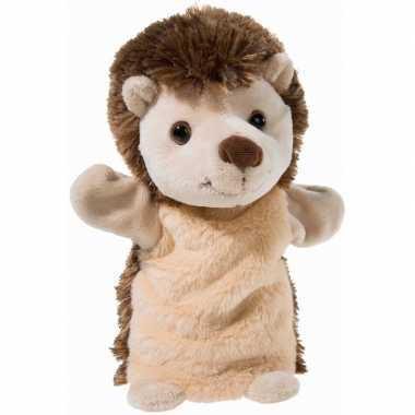 Pluche bruine egel handpop knuffel 25 cm speelgoed