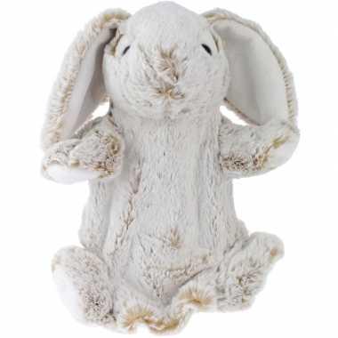 Pluche bruine konijn/haas handpop knuffel 25 cm speelgoed