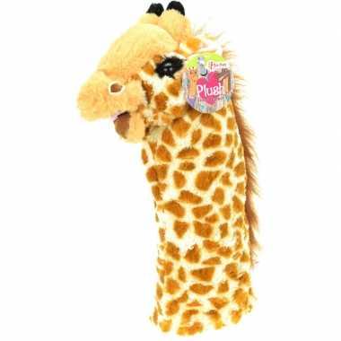 Pluche dieren handpop giraffe 40 cm