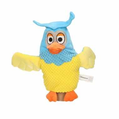 Pluche fabeltjeskrant meneer de uil handpop knuffel 25 cm speelgoed
