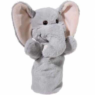 Pluche grijze olifant handpop knuffel 25 cm speelgoed
