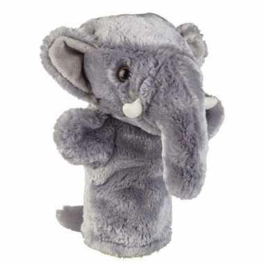 Pluche grijze olifant handpop knuffel 26 cm speelgoed