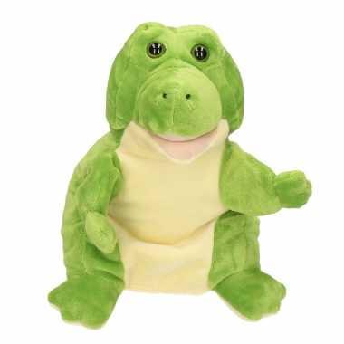 Pluche groene krokodil/krokodillen handpop knuffel 30 cm speelgoed
