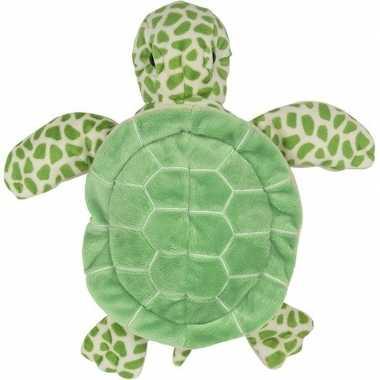 Pluche groene zeeschildpad handpop knuffel 24 cm speelgoed