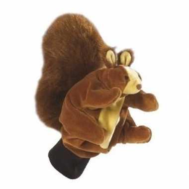 Pluche handpop eekhoorn 22 cm