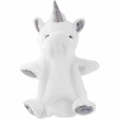 Pluche wit/zilveren eenhoorn handpop knuffel 25 cm speelgoed
