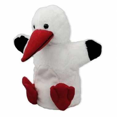 Pluche witte ooievaar handpop knuffel 22 cm speelgoed