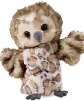 Pluche bruine uil handpop knuffel 25 cm speelgoed